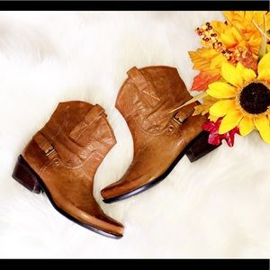 FRANCO SARTO Cowgirl Leather Ankle Booties